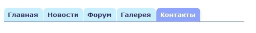 Выделение вкладки Контакты