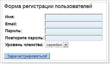 Отображение формы в браузере
