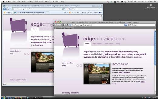 Запуск Internet Explorer 8 и Safari на Mac OS X с помощью Parallels