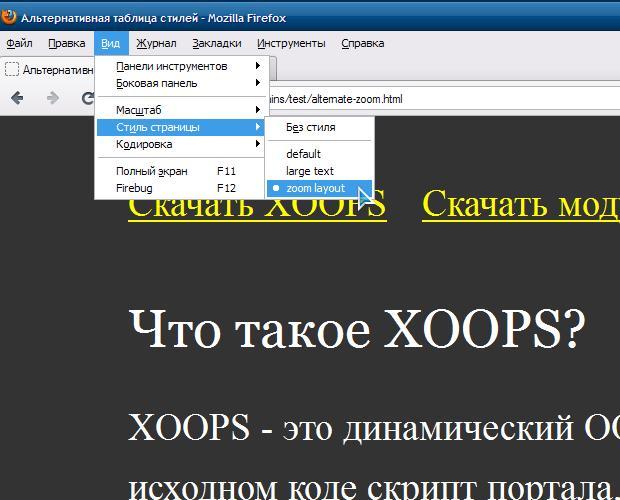 Вид страницы с применением таблицы стилей для zoom layout
