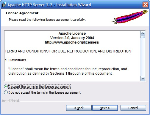 Установка сервера Apache. Шаг 2