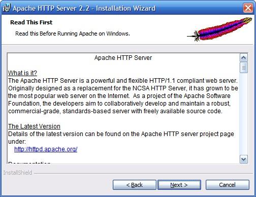 Установка сервера Apache. Шаг 3