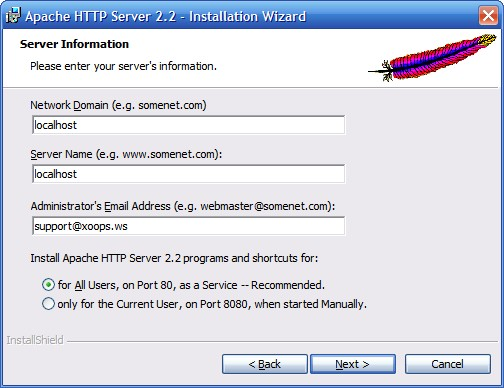 Установка сервера Apache. Шаг 4