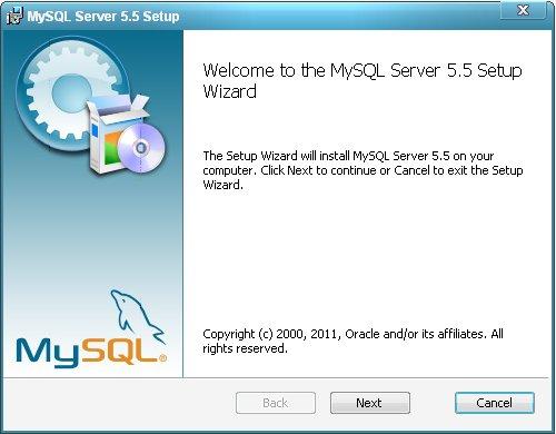 Установка сервера MySQL.