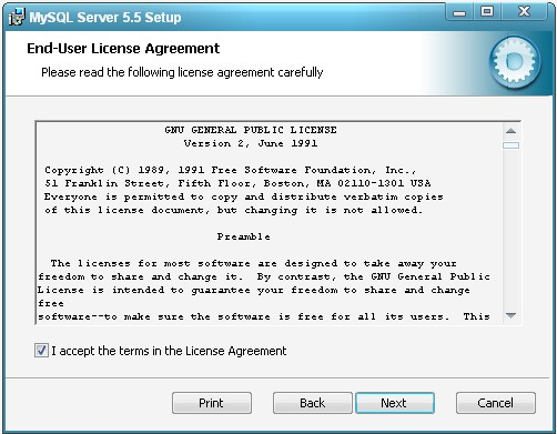 Окно с лицензионным соглашением