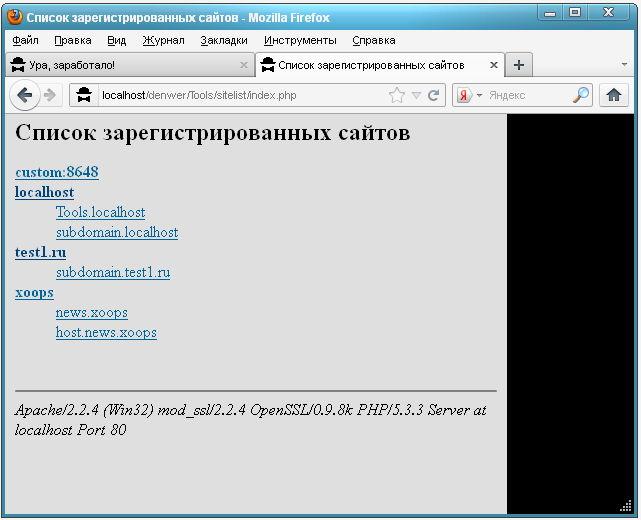 Список всех зарегистрированных виртуальных хостов